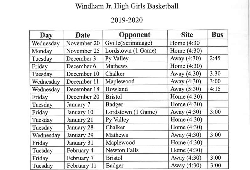 jh girls basketball schedule