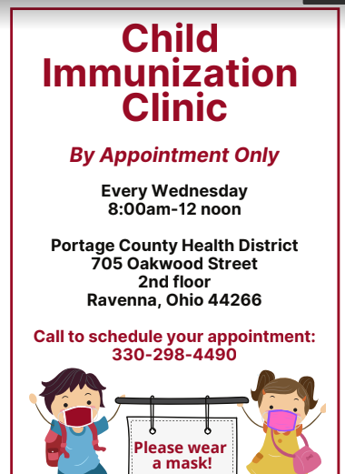 Child Immunization Clinic offered in Ravenna every Wednesday