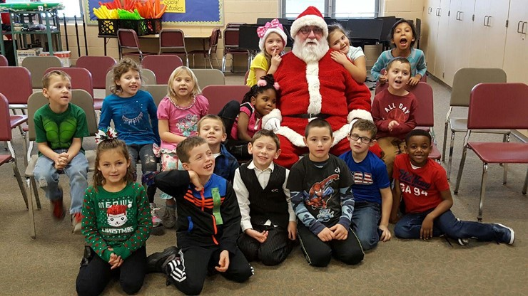 Santa came to visit the KT students!