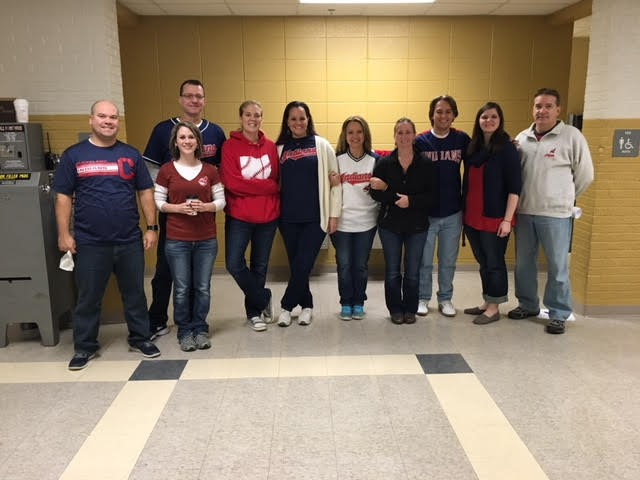 The JR/SR High staff celebrated the Indians World Series win.