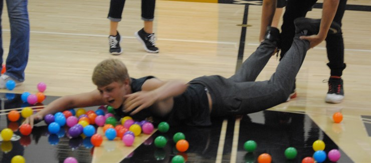 Hungry, hungry hippos game was in full force at the homecoming pep rally.