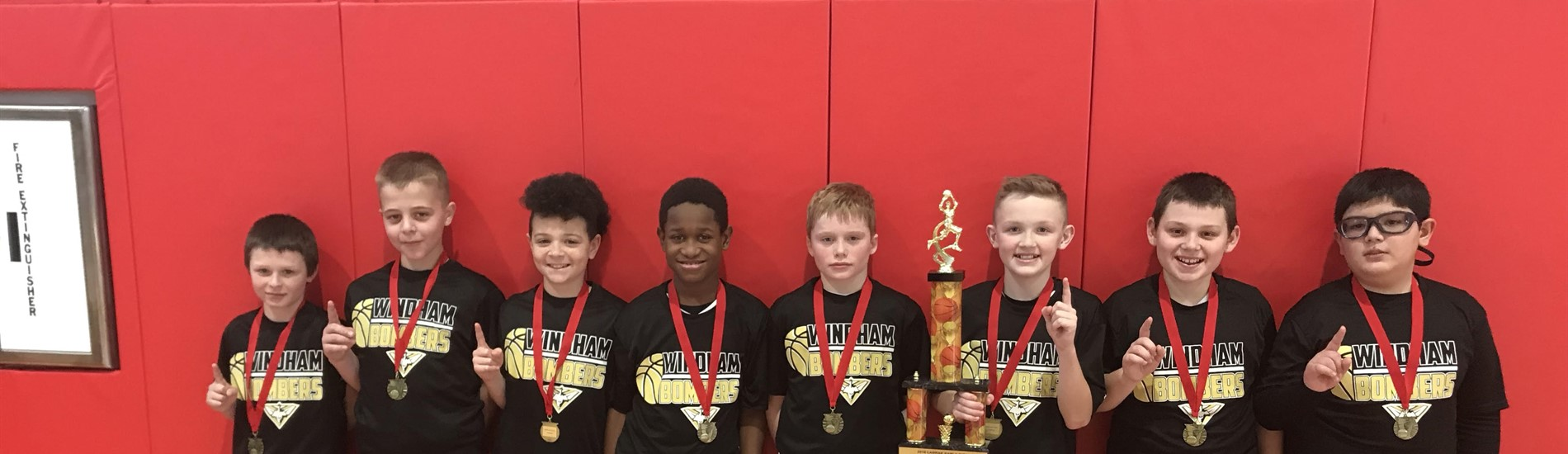 The 5th grade boys took 1st place in the LaBrae basketball tournament!