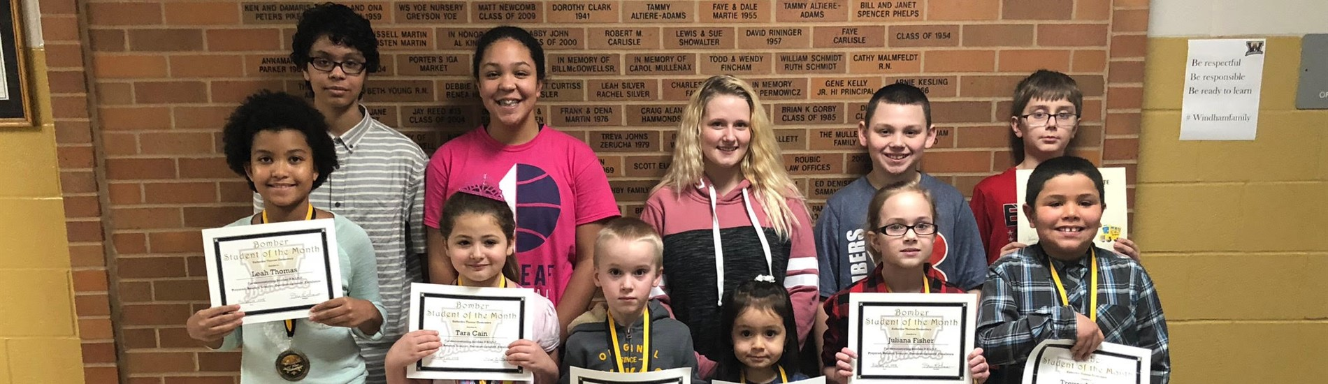Congratulations to the February Students of the Month!