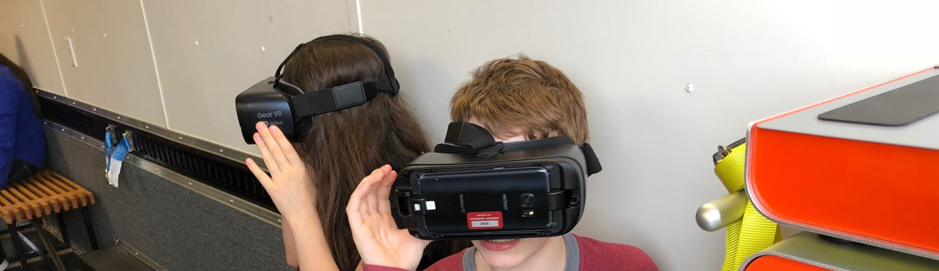 Junior High students experimented with virtual reality in the STEM van.