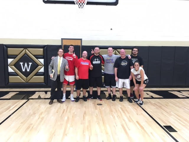 The JR/SR High Staff beat the juniors and seniors in the holiday basketball game!